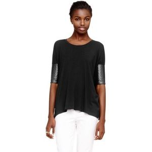 Club Monaco black shirt w faux leather. Size small